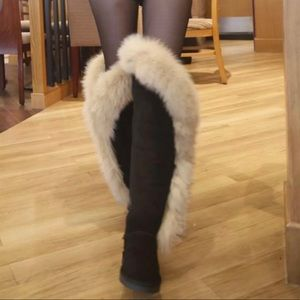 Black knee high suede boots with Fox Fur.